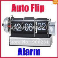 Free Shipping!!Retro Digital Auto Flip Page Desk Gear Clock Alarm