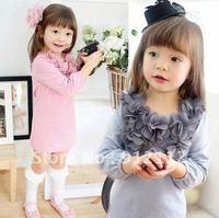 Lace flower Spring T-shirt Girls cotton dress girls dress set lace kids clothes pink suit Girl dress 5pcs/lot
