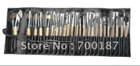Free shipping (24pcs/set) wool cosmetic make up brush sets professional