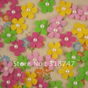 Free shipping Wholesale felt flower with pearl and sticker design DIY for scrapbooking (48pcs/Lot)026023 (5)