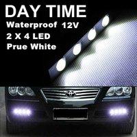 1 Pair 4LED 4W 112mm*15mm*18mm White Tiny Daytime Running Light Eagle Eye Driving DRL Fog Lamp 12V Free Shipping