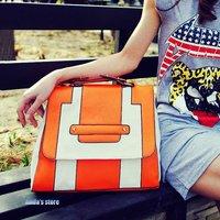 Collision color retro briefcase handbag shoulder  female pu bags