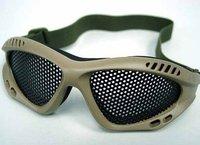 Airsoft Paintball No Fog Metal Mesh Goggle Glasses Tan free ship