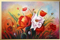 Art works hand-painted Bright rose decorative landscape oil painting on canvas