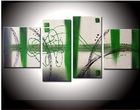Hand Painted Early spring green oil wall art decoration abstract framed oil paintings 4p