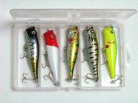 New Arrival,5pcs/set 14G/9CM,5 color 2 hooks Plastic Popper fishing hard bait lures,freeshipping