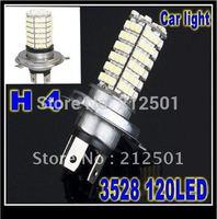 Free shipping with factory price 120 LED 3528 SMD H4 White Fog Driving Light Headlight Lighting Lamp Bulb 12V