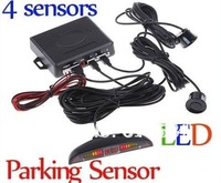 10pcslot DHL EMS shipping high quality  4 Parking Sensors LED Display Car Reverse Backup System Radar kit Detect Alarm