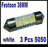 Free shipping  festoon12V 36mm 3 SMD 5050 LED olny  white Car Auto Light  LED License Plate Light LED Festoon Light Bulbs
