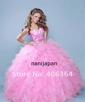 Fast shipping Custom made Strapless Beaded Tulle Ball Gowns Pink Flower Girl dresses Girl Party dresses Bridemaids dresses