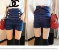 Double breasted lacing vintage high waist shorts all-match jeans women's high waist tights shorts f4