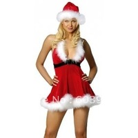 free shipping Hot Sexy Christmas Santa Costume Deep-V Dress /w Hat