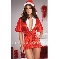 free shipping Hot Sexy Santa Costume Red Satin Night Gown /w Hat