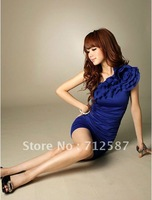 2012 New Fashion Design Ladies One Shoulder Flowers Blue Black Summer Dresses Women Sexy Party Dress ~free shipping#5180