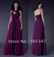 Free shipping 2012 Custom made V Neck Sexy Purple Cheap Bridesmaid dresses Plus size