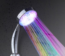 LH002 Multiple Color 7 colors Automatic Jump Changing Water Flow Showerhead Bath LED Handle Free shipping(China (Mainland))
