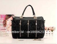 2012Hot Sale Fashion Handbag Women shoulder handbags women bags PU Leather Bag Lace style free shipping