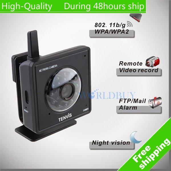 High Quality Tenvis Mini319W Wireless IP Camera WiFi CMOS CCTV Security System monitor Black Free Shipping DHL HKPAM CPAM KU-13(China (Mainland))