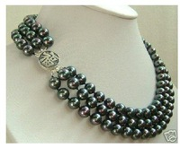3rows tahitian 8-9mm black pearl ''FU'' silver clasp necklace