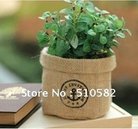 Hot !New Jute storage basket /storage bin / home Storage Organizer Box with Ship anchor Stamp 12X13CM Free Shipping 10pcs/lots