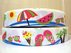 free shipping 7/8 '' summer printed ribbon Grosgrain ribbon whole sale and OEM(China (Mainland))