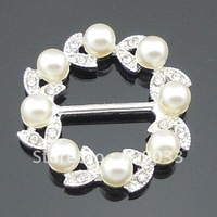 Pear l& rhinestone Buckles Made Of Grade A Rhinestone 15mm Bar Size--------BU299-02