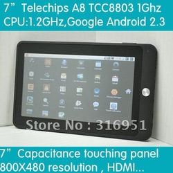 "Free shipping 7"" TCC8803-Capacitance Tablet CORTEX A8 Memory DDRII 512MB Flash 4GB Android 2.3 WiFi 3G G-sensor 3D Games(China (Mainland))"