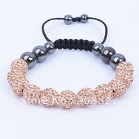 Shamballa Jewelry,11PC 10mm Champagne Micro Pave Crystal Disco Ball Beads Shamballa Bracelet,Friendship Bracelet,FreeShipping