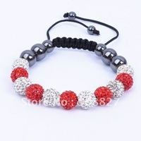 Shamballa Jewelry,11PC 10mm Red & White Micro Pave Crystal Disco Ball Beads Shamballa Bracelet,Friendship Bracelet