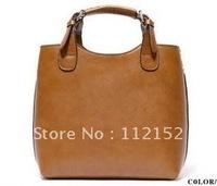 Women's Vintage Celebrity Tote Shopping Bag Fashion COW Leather Handbag Handle Black Free Shipping