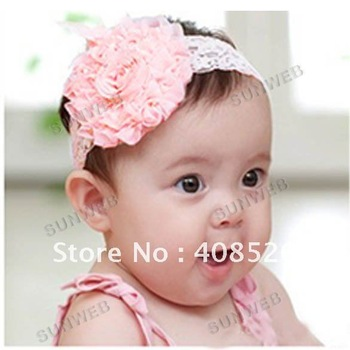 2012 Rose Silk Elastic 20pcs/lot Baby Toddler Children Girls princess HairBand Hair Flower Accessories free shipping 5468