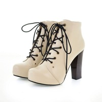 New Fashion Women Ankle Boots High Quality Lace-up High Heels Boots For Women
