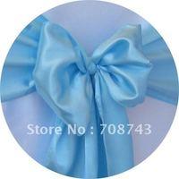 Free shipping /sky blue  satin chair cover sash /satin sash