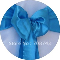 Free shipping /turquoise  blue satin chair cover sash /satin sash