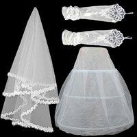 free shipping wedding dress petticoat pannier+gloves+veil three pieces wedding accessories wedding decoration petticoat