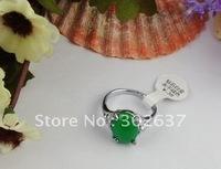 16PCS Green Simulate Oval Jade Rings #20979