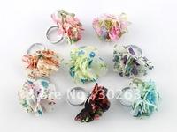 16PCS Mixed Colour Fashion Cloth Flower Rings #20983