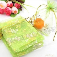Hot Sale 150pcs/lot  Green Gift Bags with Butterfly Patterns 90*120mm Organza Pouch Fit Wedding&Festival Decoration 120042