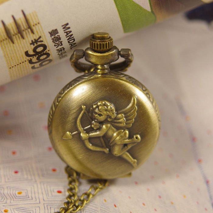 2012 shipping hot sale new men women lady Cupid love arrow mini bronze Pocket Watch Antique