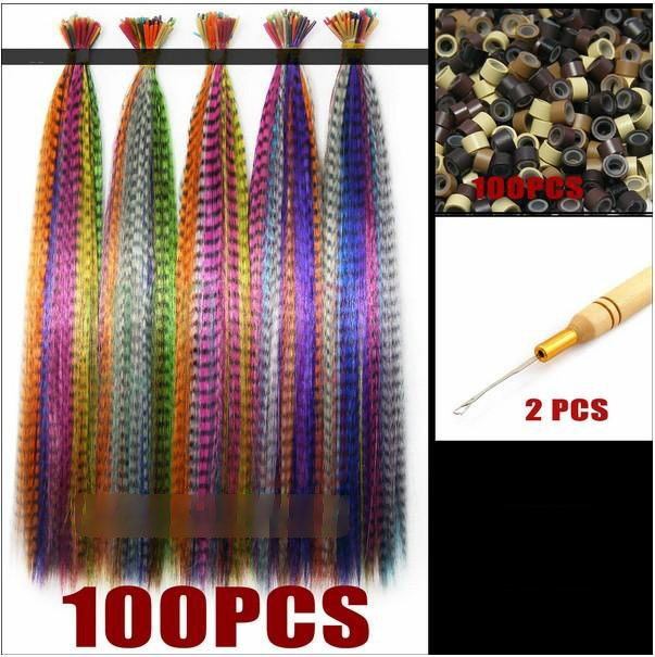 "10 Colors 100pcs Grizzly Synthetic 16"" Feather Hair Extensions 100pcs Beads one Hook Kit(China (Mainland))"