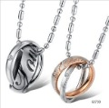 Free Shipping ~  316L Stainless Steel Rhinestone Couple Lover Rings Pendant Necklace, Fashion Jewelry 2012 best love gift