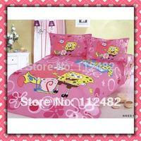 Cartoon Cotton Pink children 3pcs Blue Bedding Set Spongebob Kid Bedding Free Shipping