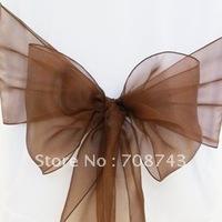 Free shipping /chocolate organza sash for wedding