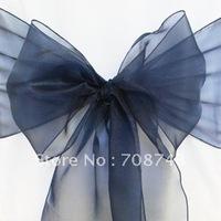 Free shipping /navy blue organza sash for wedding