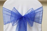 Free shipping /royal blue  organza sash for wedding