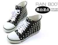 Women's Fashion Dots Lace Up Rubber Rain Boots Low Ankle Flat Sneaker Shoes Freeshipping Size US 5-8.5 (H299)