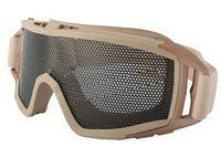 Airsoft Tactical Metal Mesh Big Eye Protection Goggles Tan free ship
