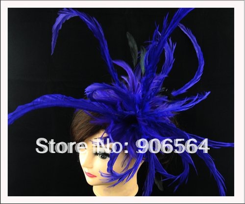 Free shipping the super elegant feather hats ,exaggerated fascinator hair accessories multiple color , MSF058(China (Mainland))