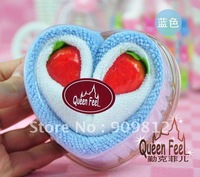 Free Shipping Dual strawberry heart-shaped cake towel, Birthday gift, Wedding return gift towel, 45g 100pcs/lot