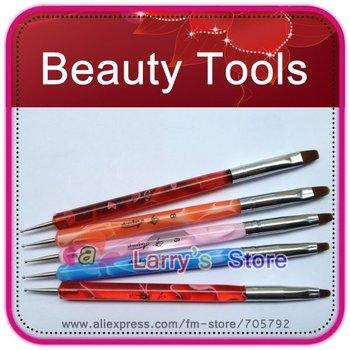 Free Shipping 5 Pcs 2 WAYS Steel Dotting Tool & UV Gel Brush Marbleizing Pen Nail Art Decoration Painting Polish Set Wholesales